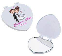 Lembrancinhas de casamento Espelho coração personalizado