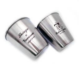 Lembrancinhas de casamento Mini copo dose Inox personalizado
