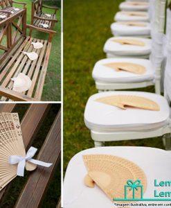 Leque de madeira personalizado para casamento