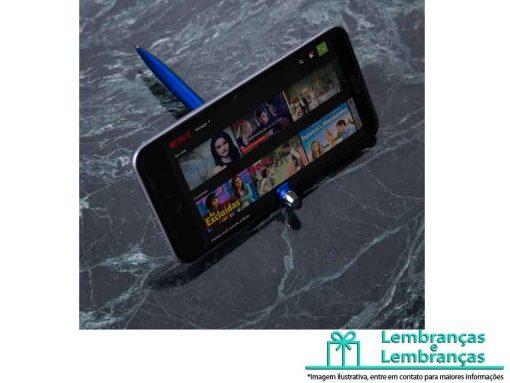 Brinde Caneta Plástica Touch com Suporte, caneta touch personalizada com suporte para celular, caneta touch com suporte para celular, caneta suporte para celular, caneta touch com suporte