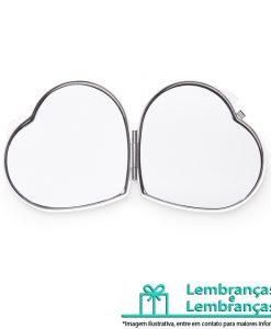 Brinde espelho de metal duplo em formato coração com aumento, Brindes espelho de metal duplo em formato coração com aumento, Brinde espelho de metal duplo em formato coração, Brindes espelho duplo em formato coração, Brinde espelho duplo em formato coração com aumento