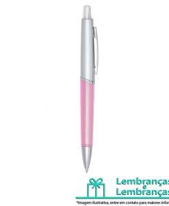 Brinde caneta plástica prata com detalhe rosa translúcido, Brindes caneta plástica prata com detalhe rosa translúcido, Brinde caneta plástica prata com detalhe rosa, caneta plástica prata com detalhe rosa, caneta plástica