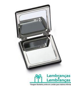 Brinde espelho com acabamento em couro sintético, Brindes espelho com acabamento em couro sintético, espelho com acabamento em couro sintético, espelho de bolso, espelho de couro, espelho pequeno